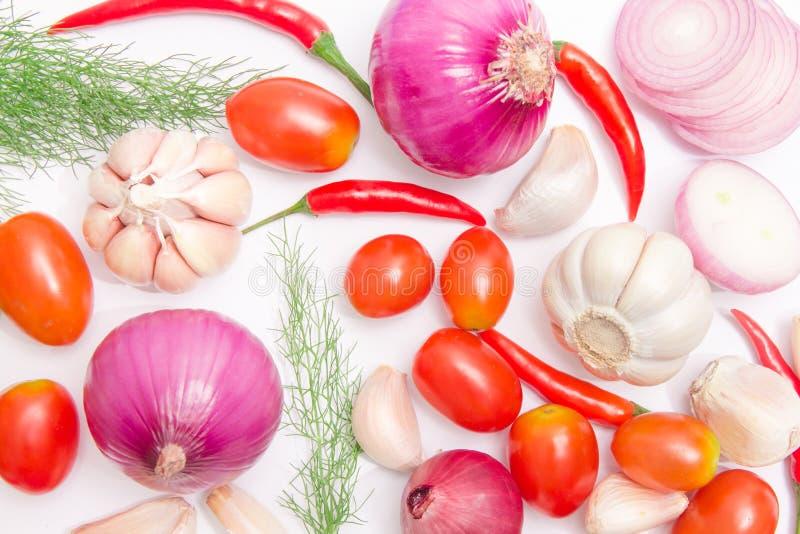 Organisches frisches buntes Gemüse mit Kartoffeln, Tomaten, Koriander, Paprika, Schalotten, Knoblauch lizenzfreies stockfoto
