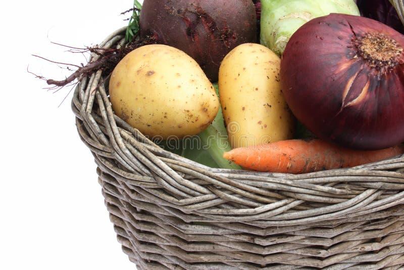 Organisches Gemüse im Korb stockbilder