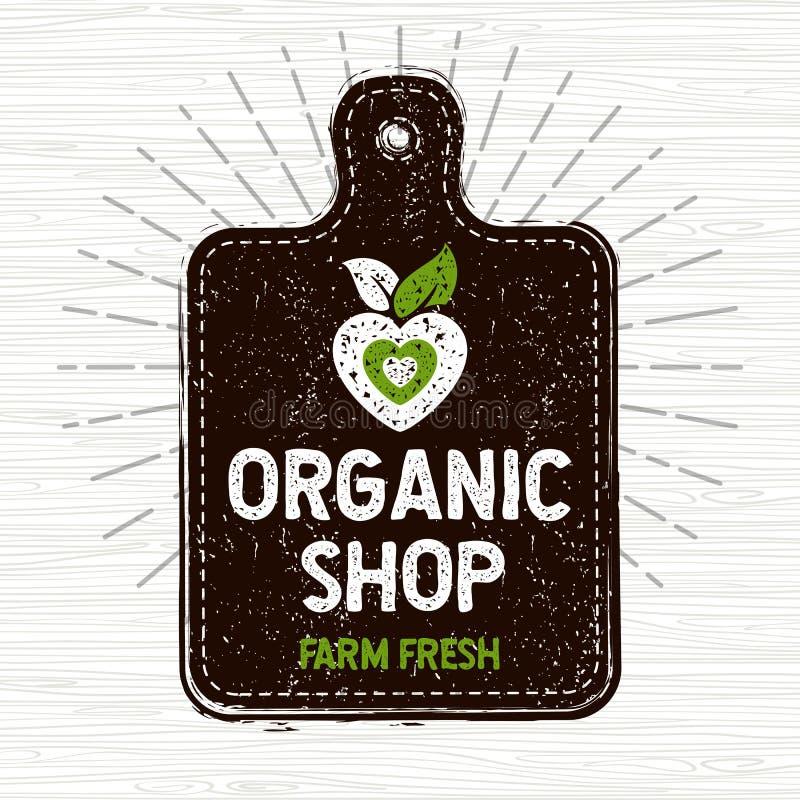 Organisches Geschäftslogo, neue Lebensmittelkennzeichnung des Bauernhofes, Schneidebrett, Strahlen, Holz, Elemente, Emblem für ec stock abbildung