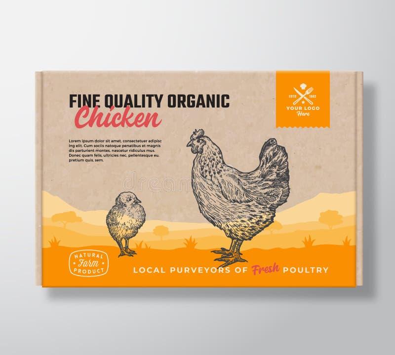 Organisches Huhn der guten Qualität Vektor-Fleischverpackungs-Aufkleber-Entwurf auf einem Handwerks-Pappschachtel-Behälter Modern stock abbildung