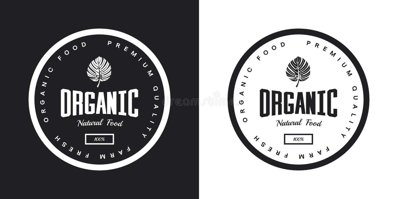 Organisches natürliches und gesundes Retro- Emblem des neuen Lebensmittels des Bauernhofes lizenzfreie abbildung