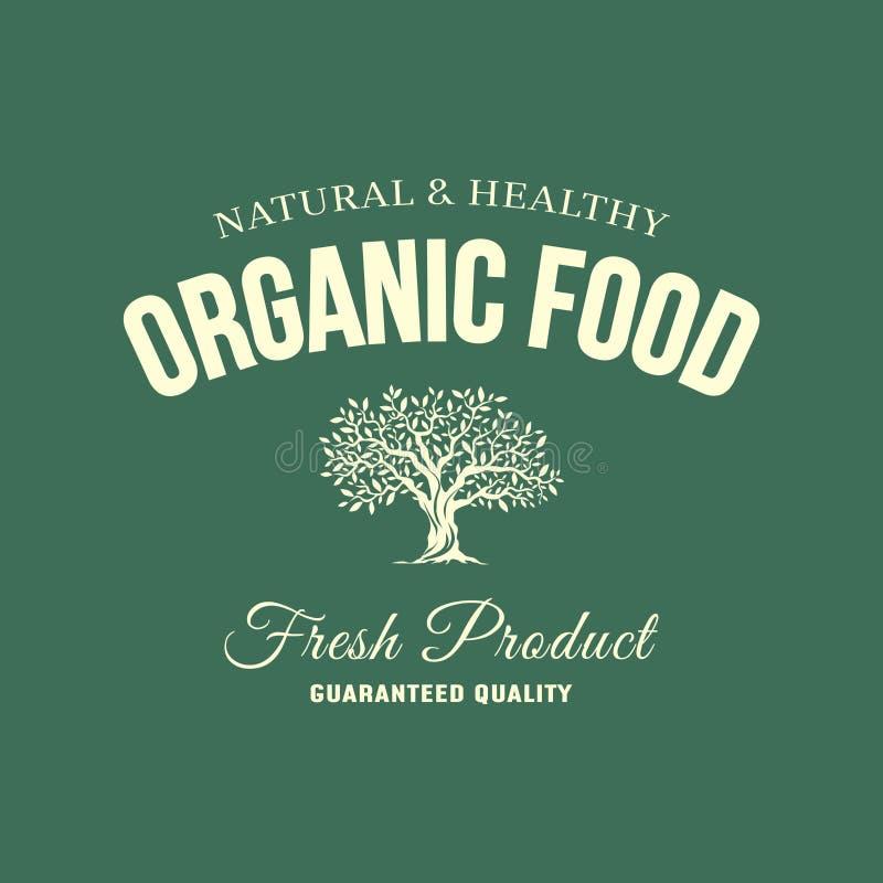 Organisches natürliches und gesundes Retro- Emblem des neuen Lebensmittels des Bauernhofes vektor abbildung