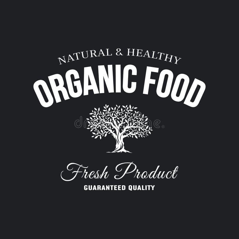 Organisches natürliches und gesundes Retro- Emblem des neuen Lebensmittels des Bauernhofes stock abbildung