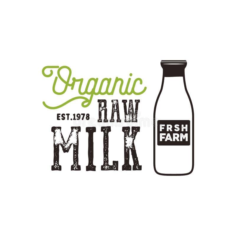 Organisches Rohmilchplakat Bewirtschaften Sie neue Produktfahnenschablone mit Flasche Milch- und Typografieelementen Vektor rauen stock abbildung