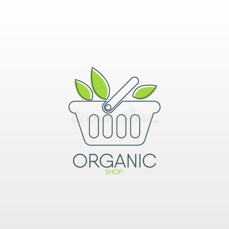 Organisches Shoplogo Gesunde Lebensmittelikone lizenzfreie abbildung