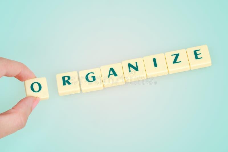 Organiseer woord stock fotografie
