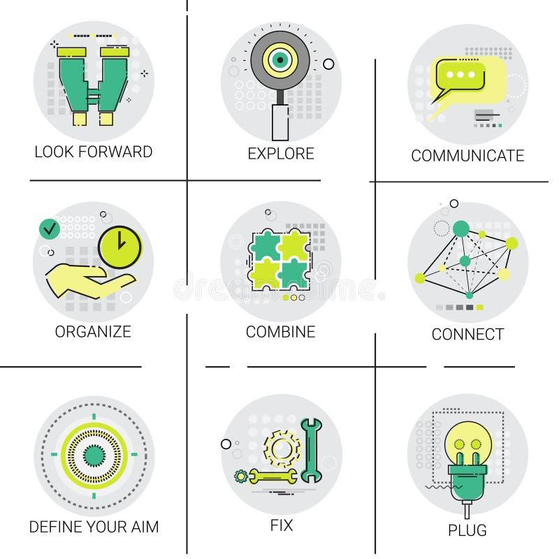 Organisera uppsättningen för symbolen för kombinationen för målet för anslutning för Tid affärsledning royaltyfri illustrationer