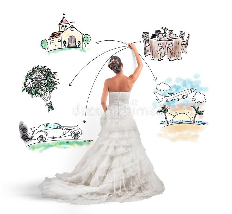 Organisering av ett bröllop royaltyfri illustrationer