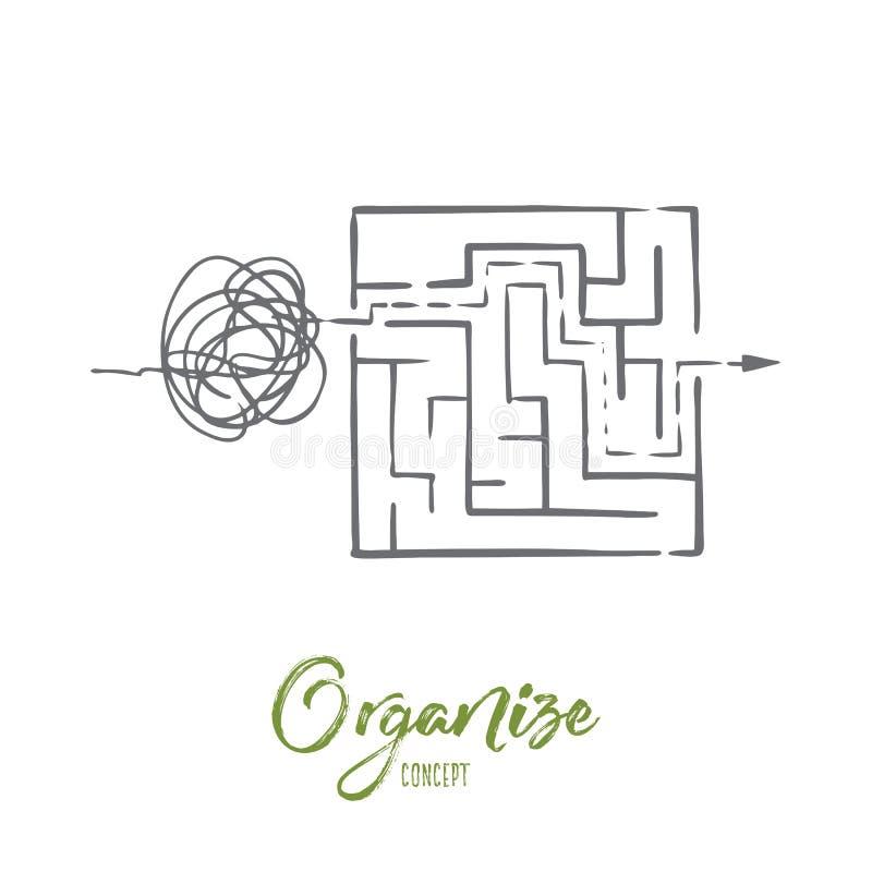 Organisez, passez commande, commandez, assortissez, concept de chaos Vecteur d'isolement tiré par la main illustration libre de droits