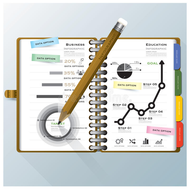 Organisieren Sie Notizbuch-Geschäft und Bildung Infographic-Design Temp lizenzfreie abbildung