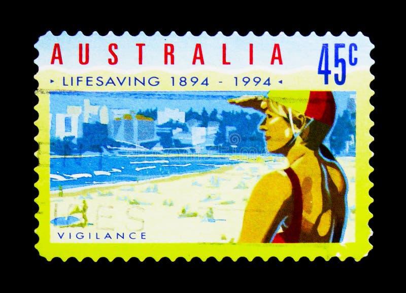 Organisiertes Rettungsschwimmen - Wachsamkeit, organisiertes Rettungsschwimmen serie, circa 1994 stockfoto