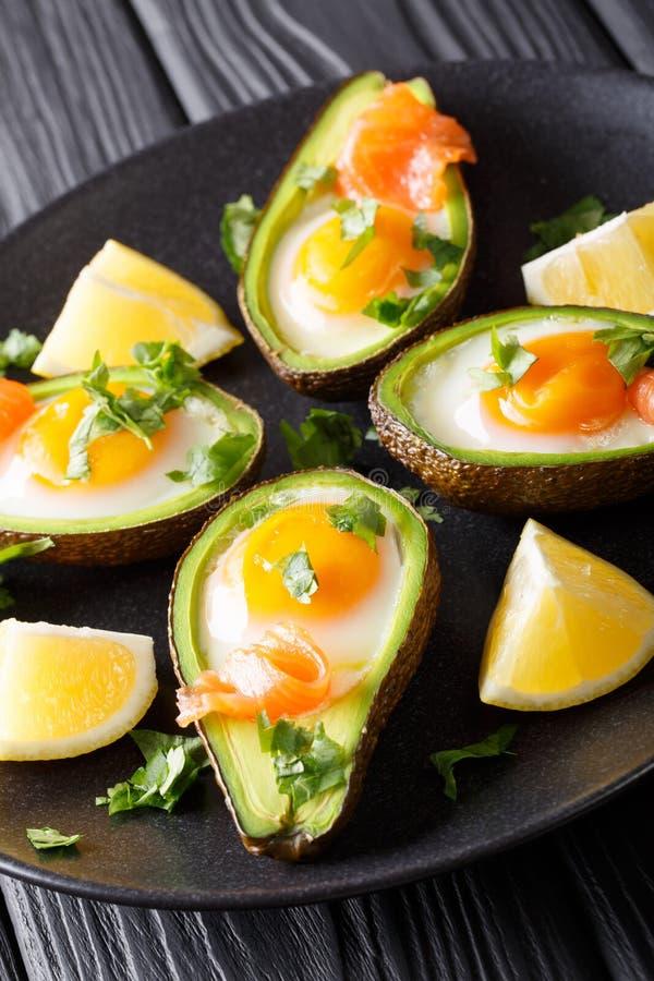 Organisk bakad avokado som är välfylld med ägg- och laxcloseupen Verti fotografering för bildbyråer