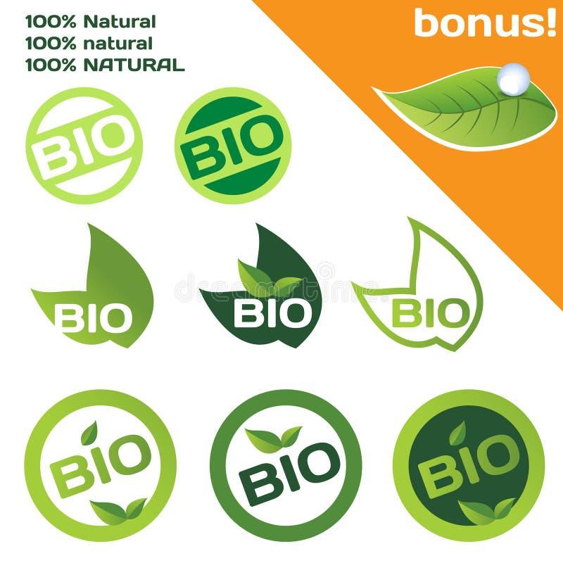 organisk bio logo vektor illustrationer