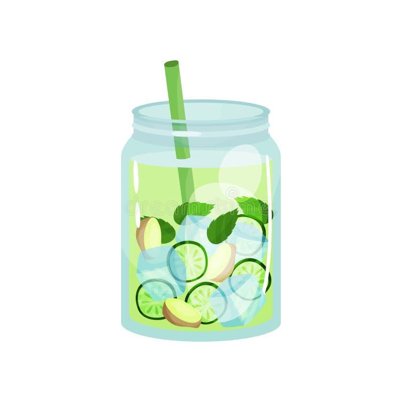 Organisk detoxdrink med ingefära-, gurka- och mintkaramellsidor Glass krus av den naturliga coctailen med iskuber och sugrör smak stock illustrationer