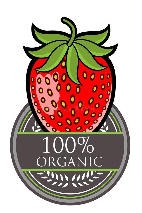Organisk etikett för jordgubbe stock illustrationer