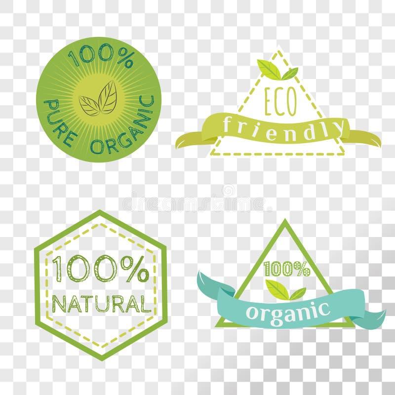 Organisk etikettsamling som isoleras på genomskinlig bakgrund vektor illustrationer