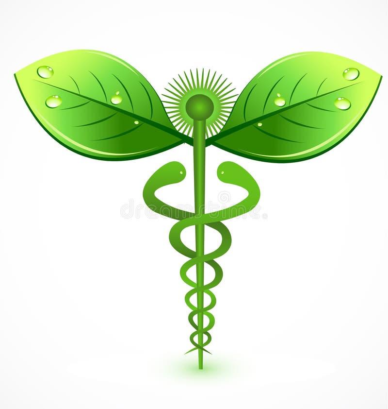 Organisk grön medicinsk symbolsvektor för Caduceus stock illustrationer