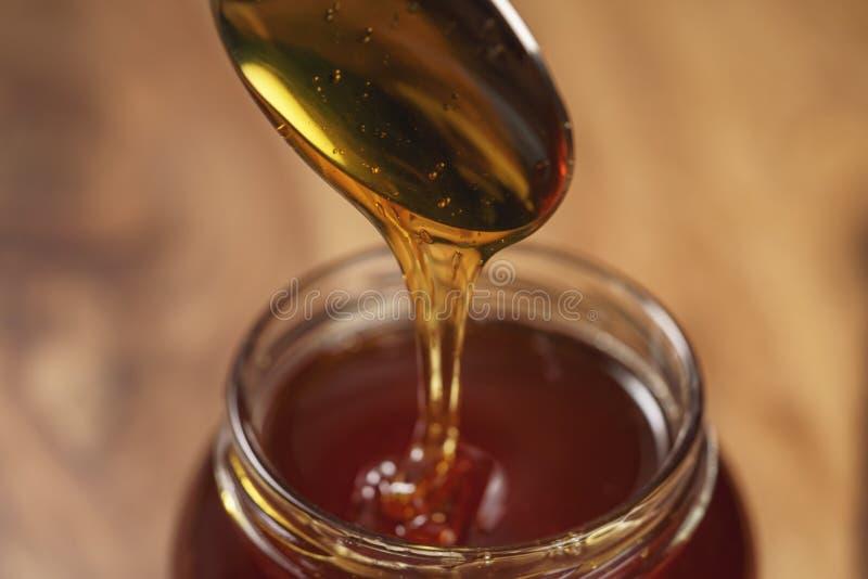 Organisk honung dryper från skeden i krus arkivbild