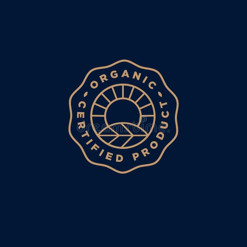 Organisk logo Bondeproduktemblem Solstrålar och blad i en cirkel med bokstäver royaltyfri illustrationer