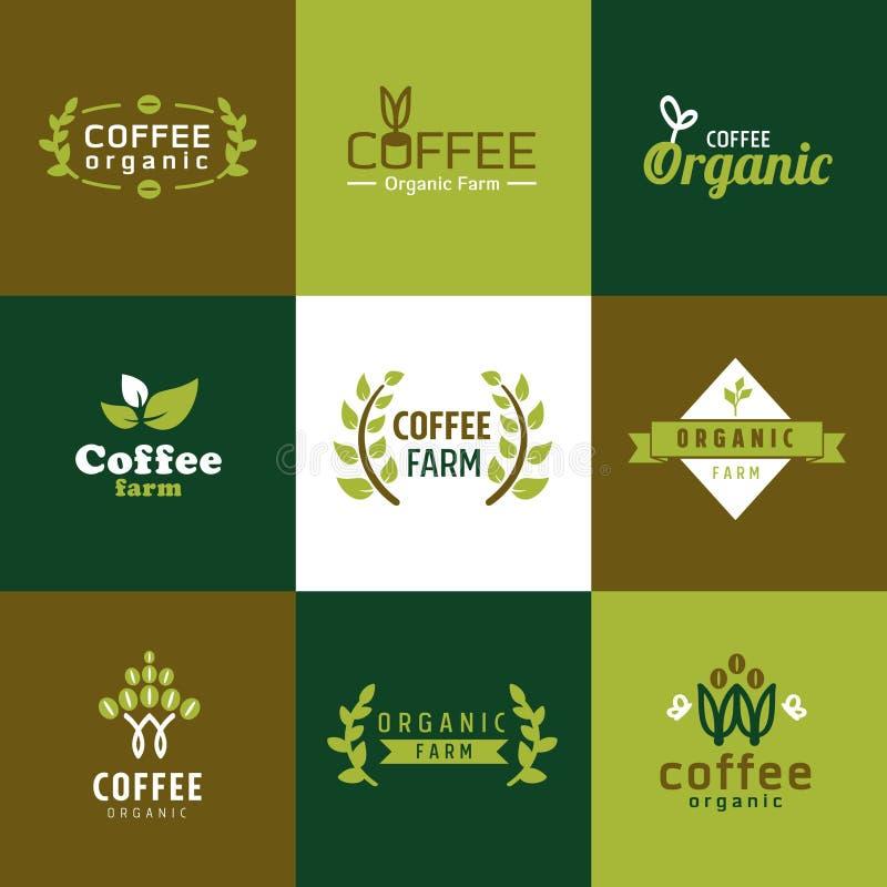 Organisk logo för kaffe vektor illustrationer