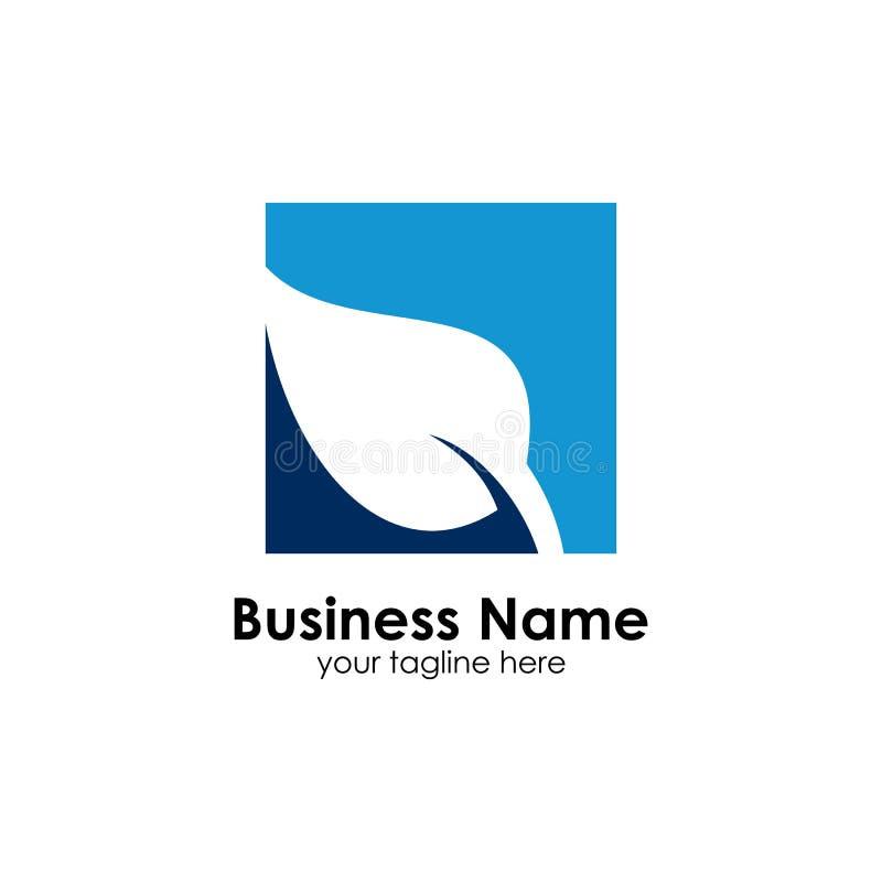 Organisk logomall, symbol, vektor, blått vektor illustrationer