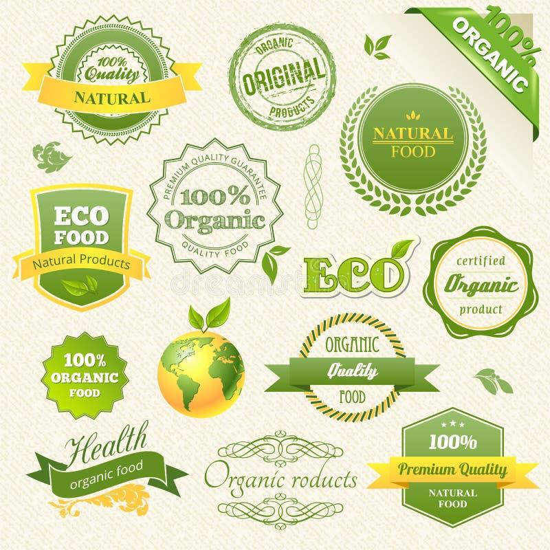 Organisk mat för vektor, Eco, Bio etiketter och element royaltyfri illustrationer