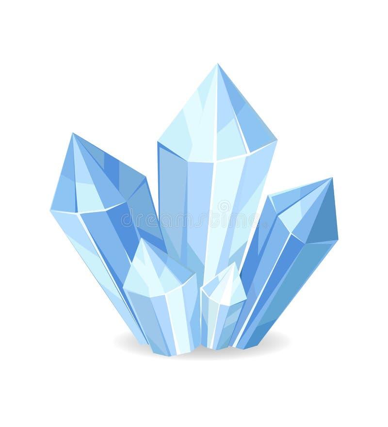Organisk mineralisk Crystalic ädelstenvektor royaltyfri illustrationer
