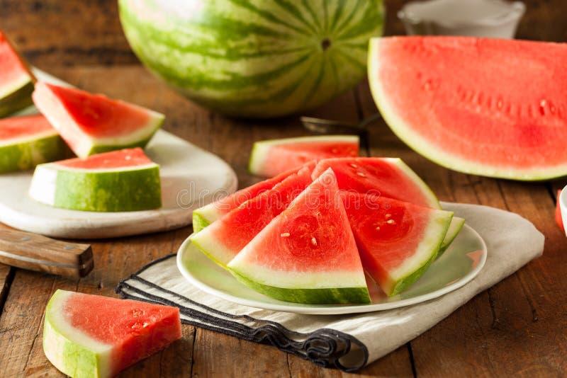 Organisk mogen kärnfri vattenmelon royaltyfri bild