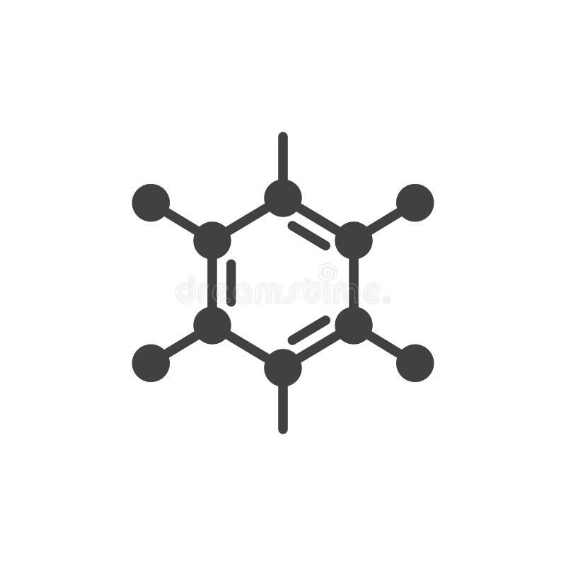 Organisk molekylsymbolsvektor, fyllt plant tecken, fast pictogram som isoleras på vit stock illustrationer