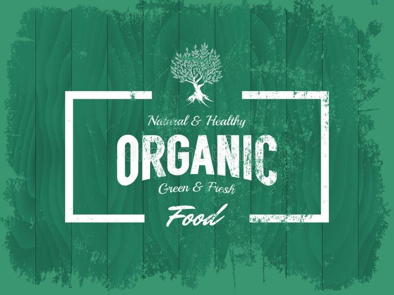 Organisk, naturlig och sund matvektorlogo för tappning som isoleras på wood brädebakgrund royaltyfri illustrationer