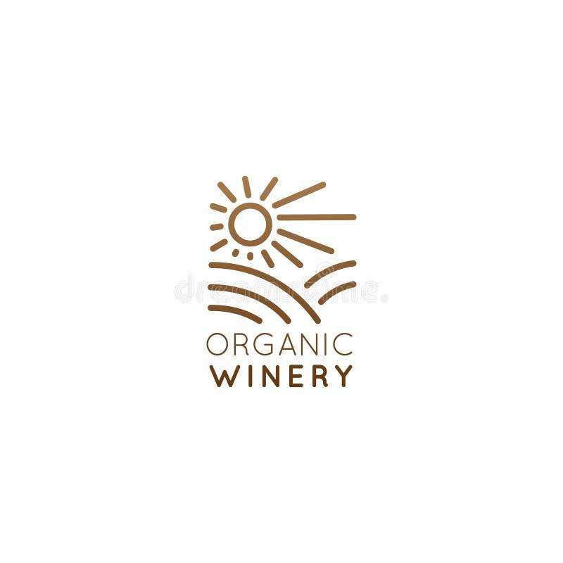Organisk naturlig vinodling eller Wineyard, kvalitets- etikett eller emblem för en produktion Pachage eller flaska stock illustrationer
