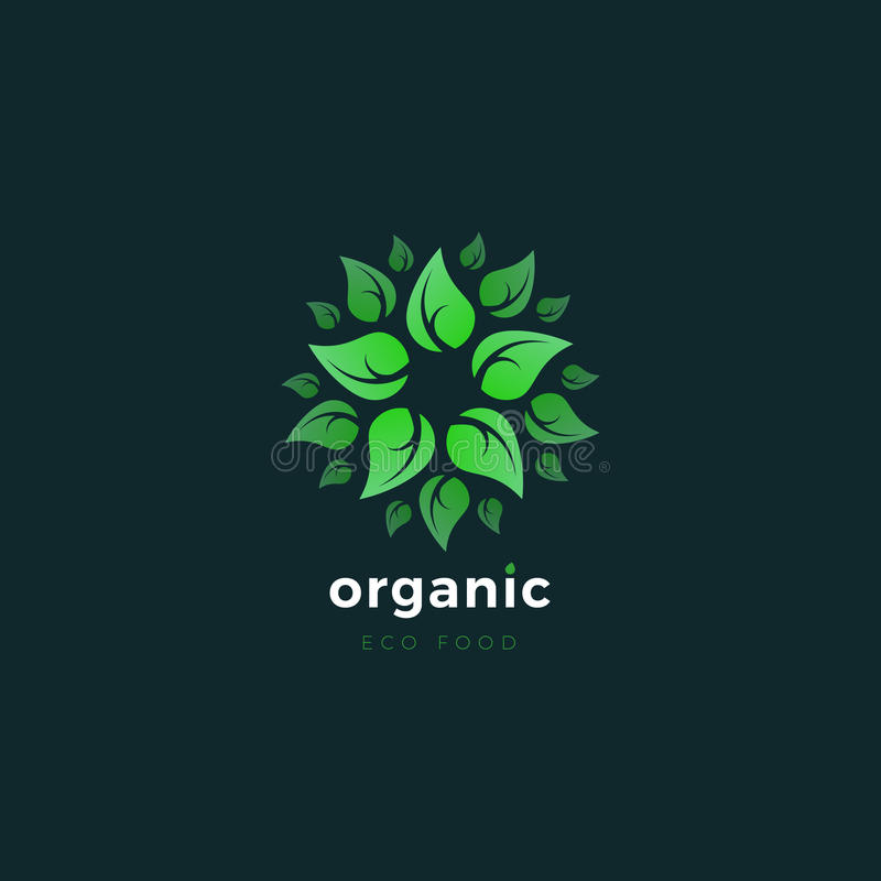 organisk produkt Grön Eco logo Designmall av den naturliga matlogoen arkivfoton