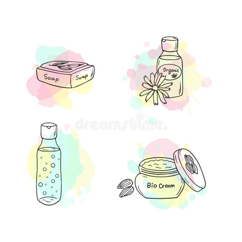 Organisk skönhetsmedelillustration Vektorskönhetsmedelflaskor Objekt för klotterhudomsorg stock illustrationer