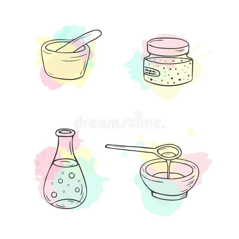 Organisk skönhetsmedelillustration Vektorskönhetsmedelflaskor Objekt för klotterhudomsorg Hand dragen uppsättning Växt- lotion bi stock illustrationer