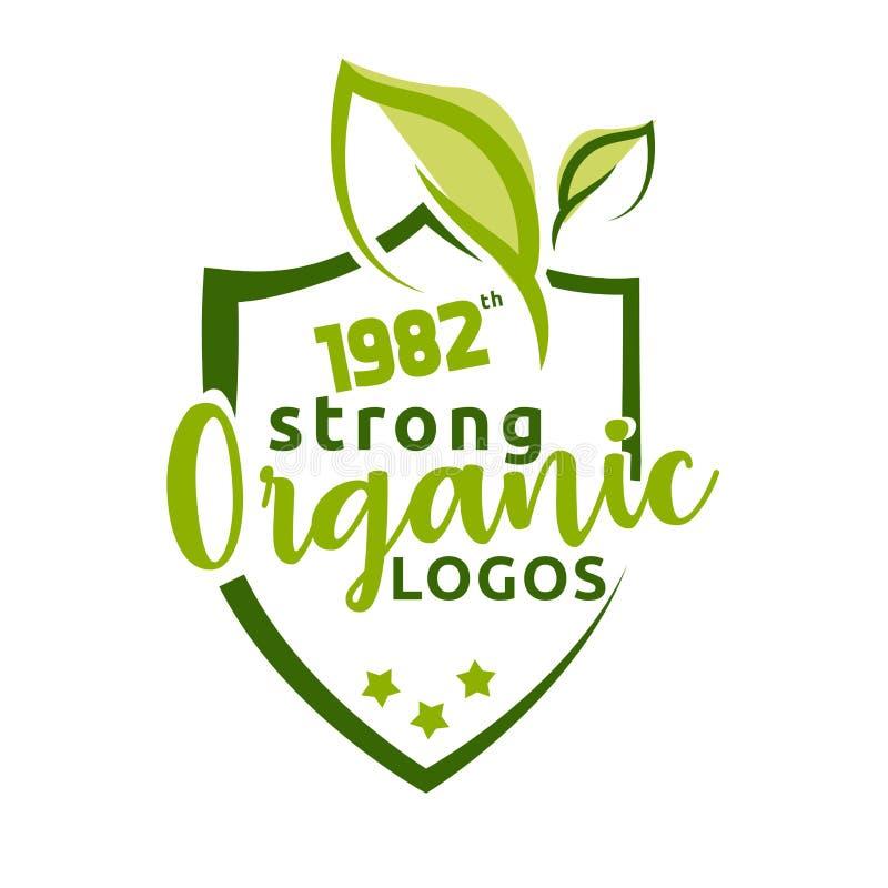 Organisk stark naturlig logovektor vektor illustrationer