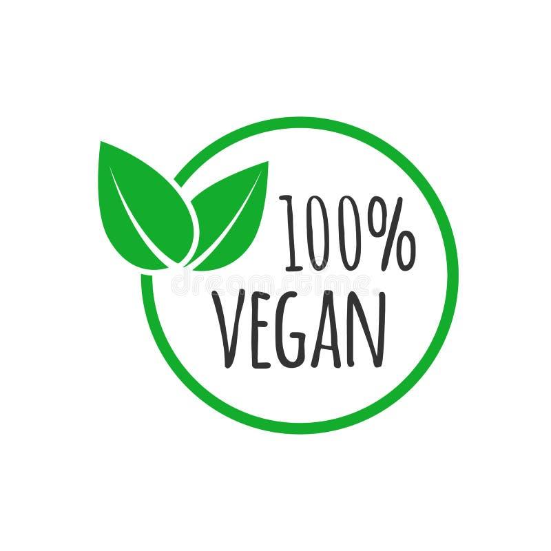 Organisk strikt vegetariandesignmall Rått sunt matemblem stock illustrationer