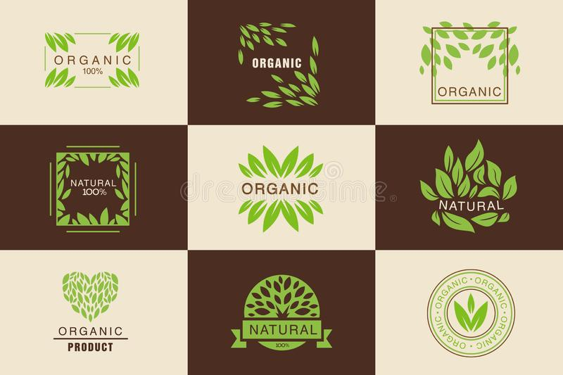 Organisk uppsättning för produktlogomall, naturliga, strikt vegetarianemblem samling, produkter för emblem för designbestånd royaltyfri illustrationer