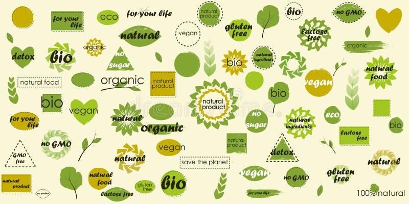 Organiska ämnen för mega symbolspacke och tomma bakgrunder för dina extra etiketter arkivfoton