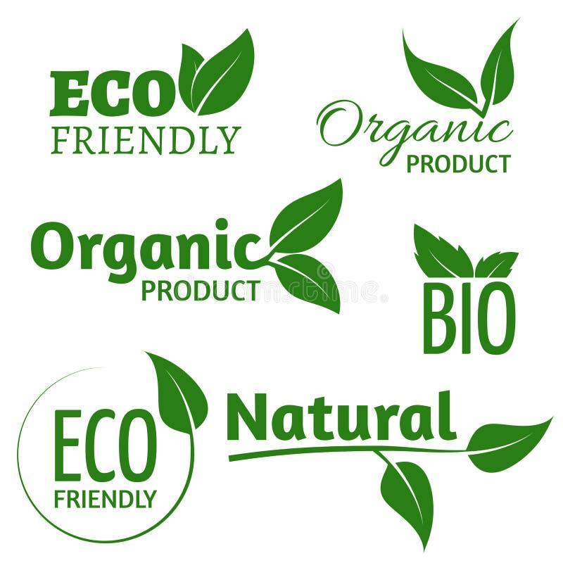 Organiska ecovektorlogoer med gröna sidor Bio vänliga produktetiketter med bladet vektor illustrationer