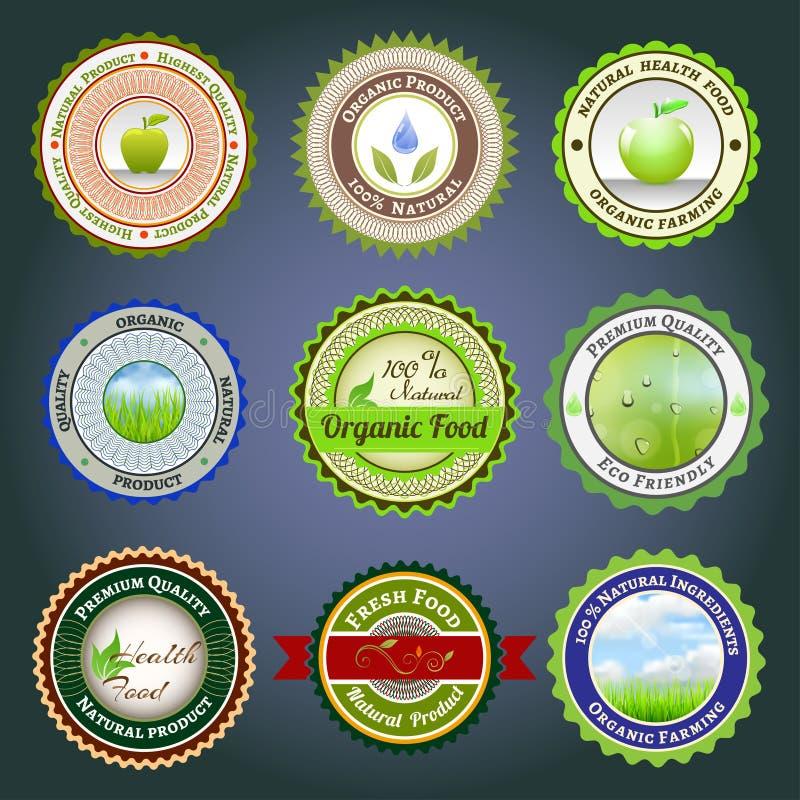 Organiska etiketter, emblem och klistermärkear stock illustrationer