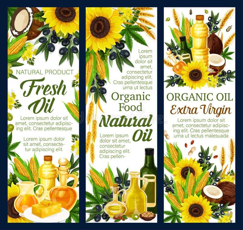 Organiska grönsak- och mutteroljaprodukter vektor illustrationer