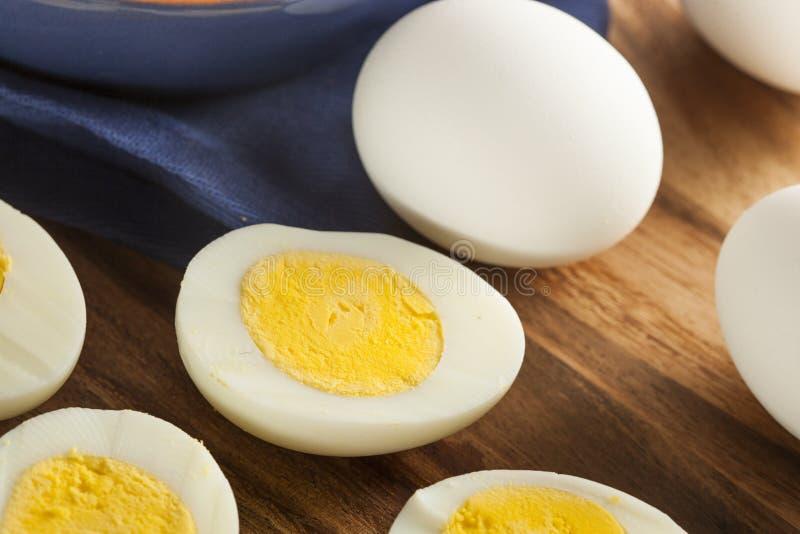 Organiska hårda kokta ägg royaltyfria foton