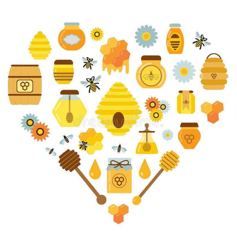 Organiska Honey Products Icon Set stock illustrationer