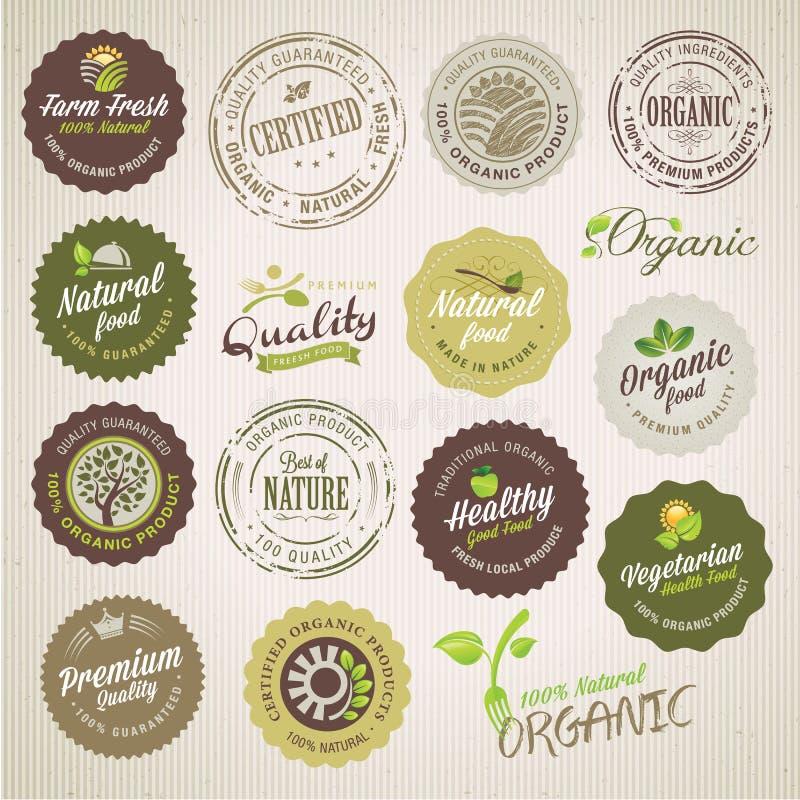 Organiska matetiketter och beståndsdelar stock illustrationer