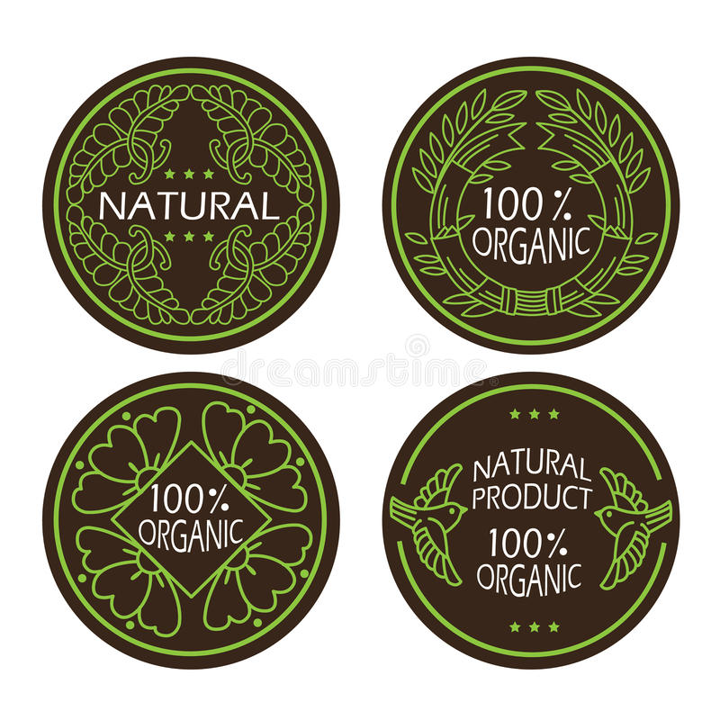 Organiska naturliga och ecosymboler ställde in med textnaturprodukten stock illustrationer