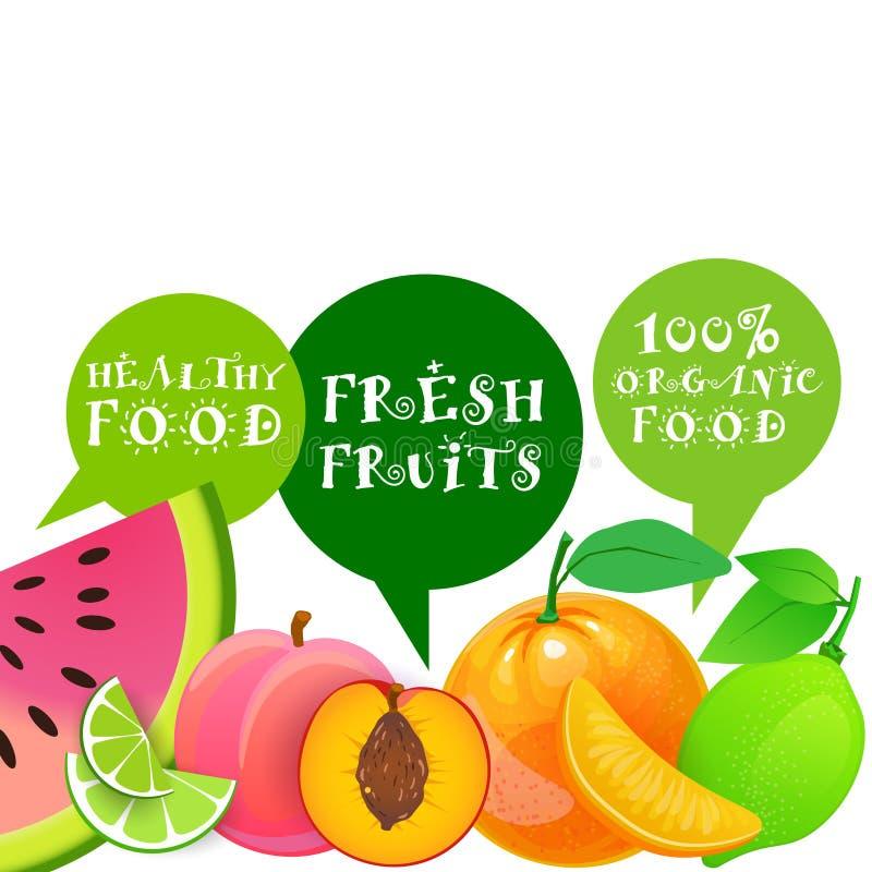 Organiska nya frukter och naturligt gårdsproduktbegrepp för sund mat royaltyfri illustrationer