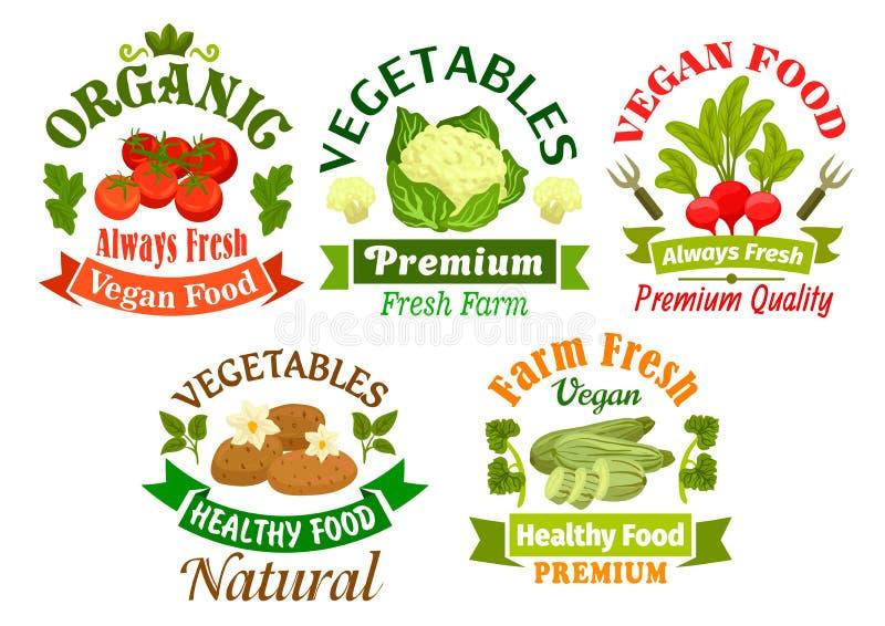 Organiska strikt vegetarianmatemblem Vegetariska grönsaker vektor illustrationer