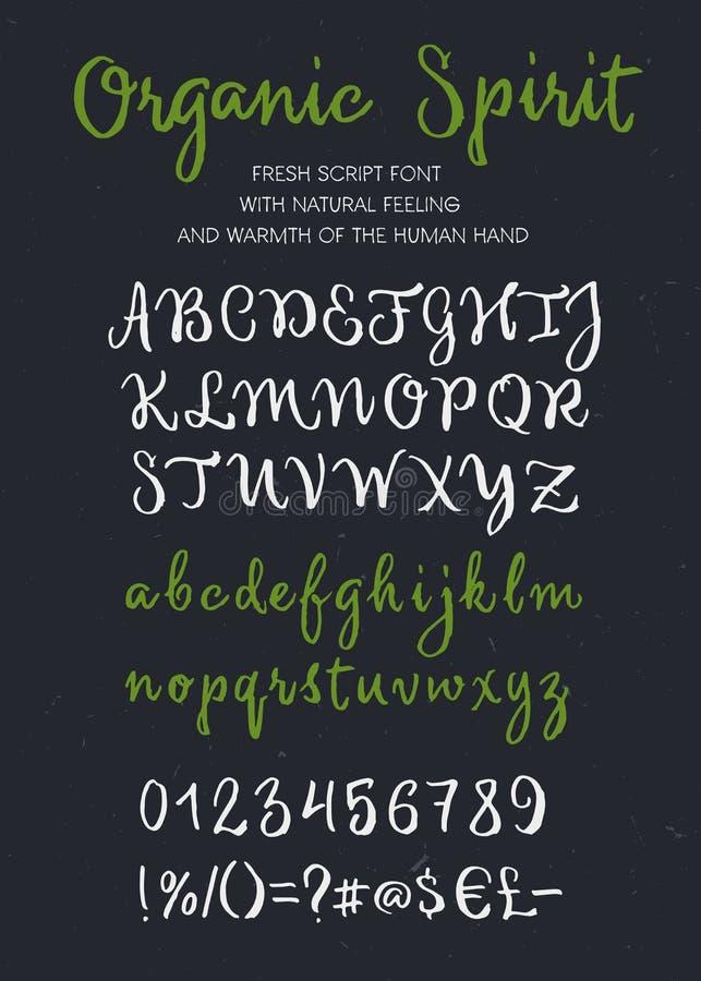 Organiskt alfabet för skrift för andevektorborste arkivfoton