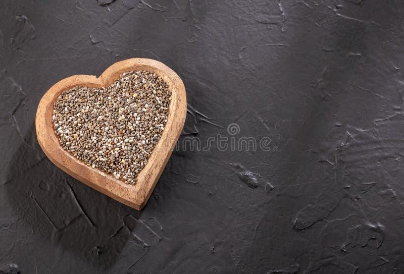 Organiskt chiafr? - Salvia hispanica Textutrymme royaltyfri fotografi