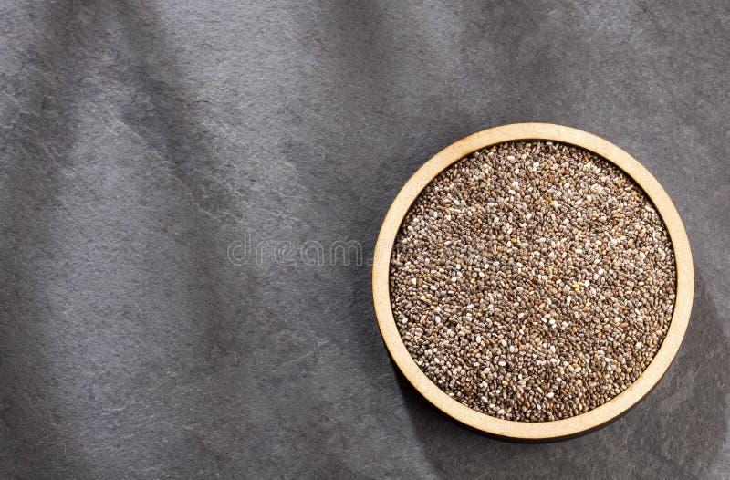 Organiskt chiafr? - Salvia hispanica Utrymme f?r text royaltyfri fotografi